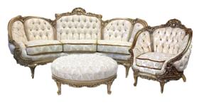 Aribella - White Gold Sofa image