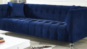 Image of a Patsy- Navy Velvet Sofa