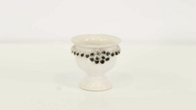 Image of a Abril-White Navy. Ceramic Compote