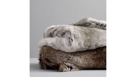 Image of a Gray Fur Throw Blanket