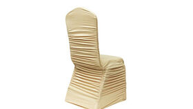 Image of a Beige Ruched Fashion Spandex Chair Cover