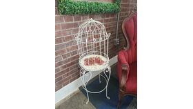 """Image of a 30"""" White Mini Birdcage on Stand"""