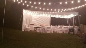Image of a 40 x 80 Perimeter Tent Lighting