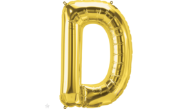 "Image of a 14"" Gold Letter D Jr. Megaloon Balloon"