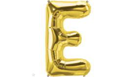 "Image of a 14"" Gold Letter E Jr. Megaloon Balloon"