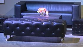 Image of a 5pc Black Leather Lounge Set