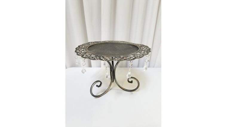 """Picture of a 10"""" Silver 3Leg Cake Stand w/Teardrop Crystals"""