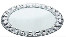 "Image of a 13"" Silver Jeweled Rim Premium Glass Mirror Charger Plates"