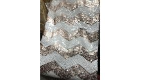 """Image of a Overlay 72 x 72"""" - Sequin = ROSE GOLD & WHITE CHEVRON"""