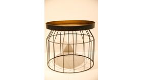 Image of a Circular Industrial Side Table