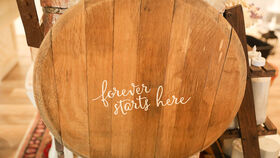 """Image of a """"Forever Starts Here"""" Whiskey Barrel"""
