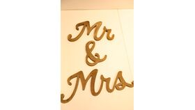 """Image of a """"Mr. and Mrs."""" Standing, Wooden Letters"""