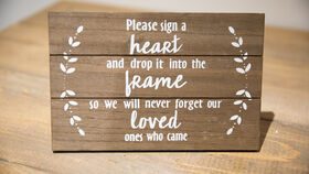 """Image of a """"Please Sign a Heart"""" Wooden Sign"""