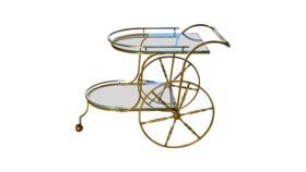 Image of a Antique Glass & Brass Tea Cart