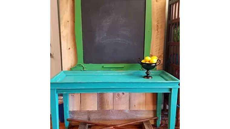 Picture of a Bright Green Framed Chalkboard