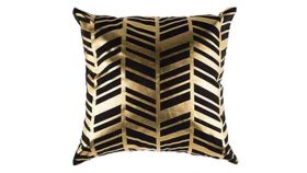 Image of a Black and Gold Chevron Pillows