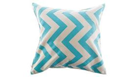 Image of a Aqua and Natural Chevron Pillow