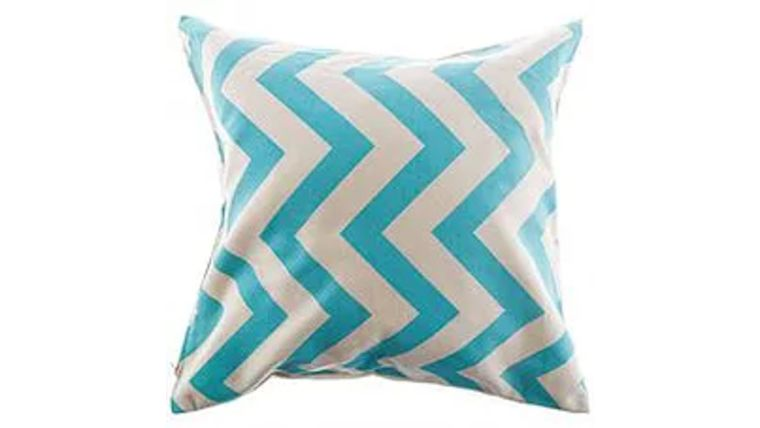 Picture of a Aqua and Natural Chevron Pillow