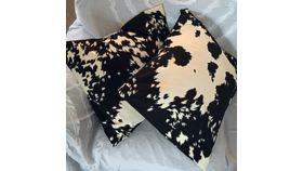 Image of a Black and Cream Velvet Cowhide Pillows
