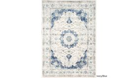 Image of a Blue and Ivory Wool Rug