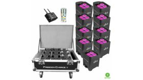 Image of a (9) Chauvet DJ Freedom Par Hex-4 D-Fi Wireless RGBAW+UV LED Pars with Road Case