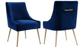Image of a Beatrix Navy Velvet Side Chair