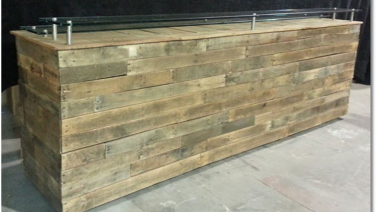 """Picture of a 38"""" 124"""" Bars & Buffets Rustic Wooden Bars"""