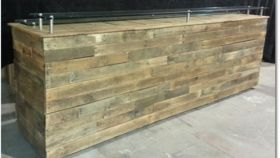 "Image of a 41.75"" 75.25"" Bars & Buffets Rustic Wooden Bars"