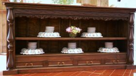 Image of a Hand Carved Shelving Console Table