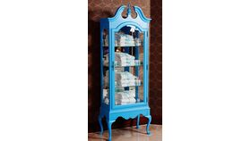 Image of a Wooden Traditional Curio Cabinet with Mirrored Back