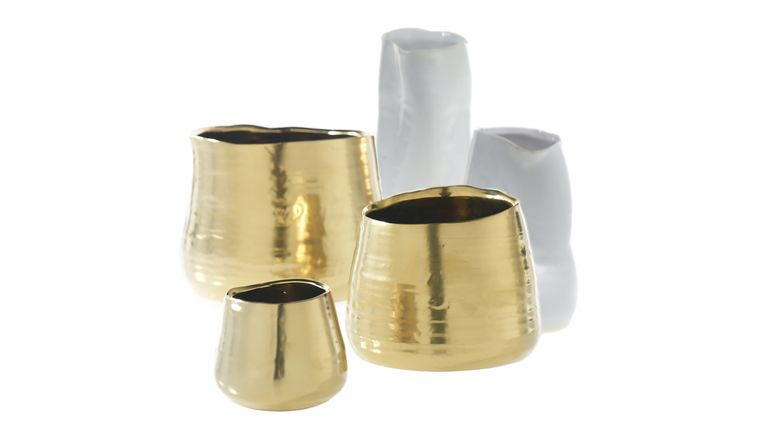 "Picture of a AD Tegan Pots and Vases Gold 3.25"" X 4.25"""