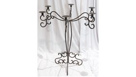 "Image of a 6 Arm Wrought Iron Thicker Scrolled Candelabra 33.25"" Tall"
