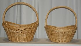 Image of a Tan Wicker Basket Set of 2