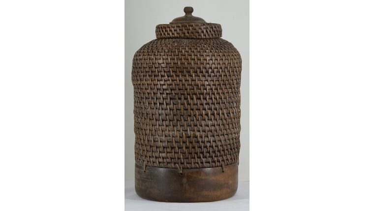 """Picture of a 12"""" Brown Woven Basket With Lid"""
