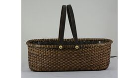 "Image of a 12"" Brown Rectangular Picnic Basket"