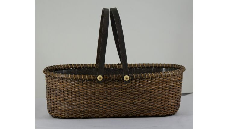 """Picture of a 12"""" Brown Rectangular Picnic Basket"""
