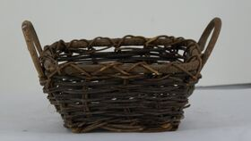 "Image of a 4"" Brown Wicker Handled Basket"