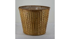 "Image of a Tapered Tan Banded  Basket / Plant Pot 11""h x 13""diam"