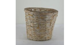 "Image of a Round White Washed Basket/ Plant Pot 9""h x 10""diam"