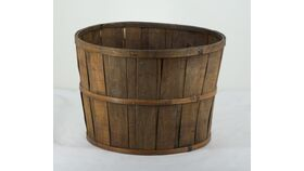 "Image of a Dark Stained Bushel Market Stand Basket 9""h x 13""diam"