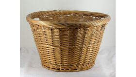 Image of a Medium Brown Tapered Wicker Handled Basket 12""