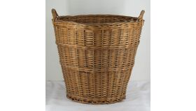 Image of a Large Brown Tapered Wicker Handled  Basket 16""