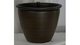 Image of a Round Bronze Textured Pot Market Light Base