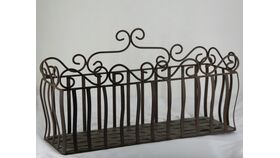 "Image of a Rectangular Woven Metal Window Box / Basket Planter Small 12""h x 7""d x 22.5""w"