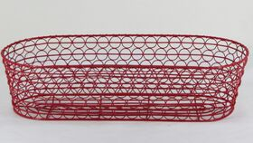 "Image of a Red Chicken Wire Oval Basket/ Planter 4""h x 7""d x 16""w"