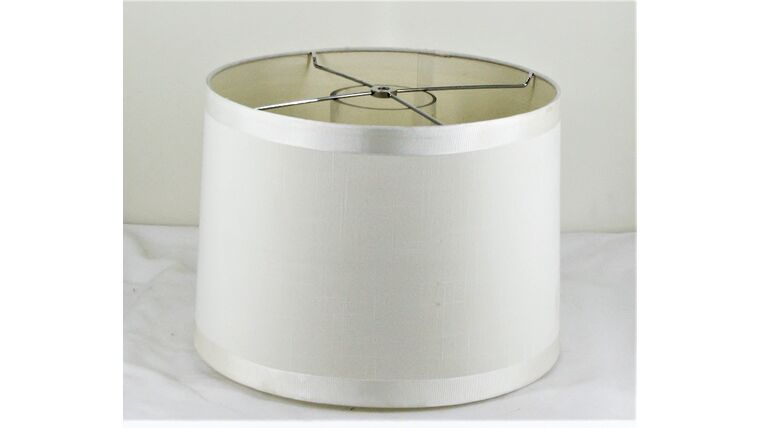 Picture of a Circular White and Ribbon Trimmed Shade