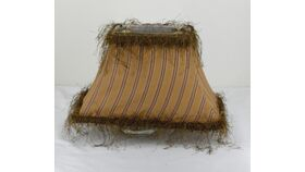 Image of a Brown Striped and Fringe Shade