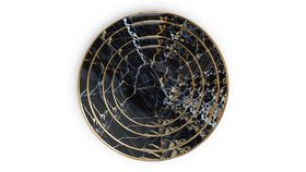 "Image of a 12"" Black Marble Charger Plate"