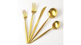 Image of a Brushed Gold Soup Spoon