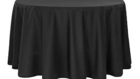 """Image of a 108"""" Black Polyester Table Linen"""
